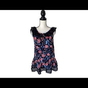 ANNA SUI Floral & Lace Top / Size Small